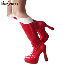b0ac46249bb Sorbern Sexy Fetish Heels Knee High Boots For Women Chunky Heels Woman  Boots 2018 Grils Shoes