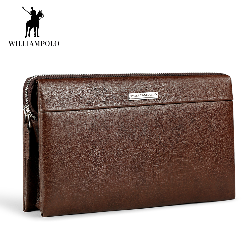 цены WILLIAMPOLO Genuine Leather Men Wallet Handbag Coin Pocket Phone Wallets Card Holder Leather Long Clutch Zipper Black Brown 80