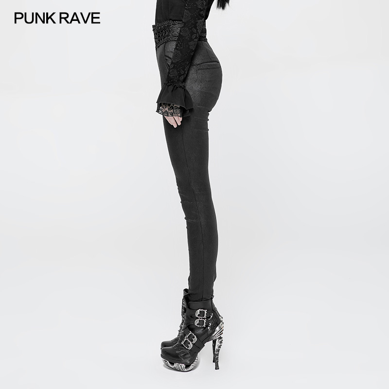 Hohe Stretch Wk330 Casual 2018 Frauen Party Mode Hosen Taille Gothic Jacquard Engen Punk Rave wYqw6f0
