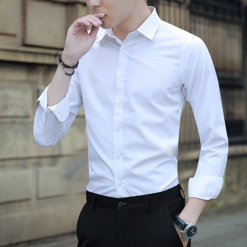 54eee4a8f7b6b Large Size Men's Business Casual Long Sleeved Shirt White Blue Black Smart  Male Social Dress Shirt Plus