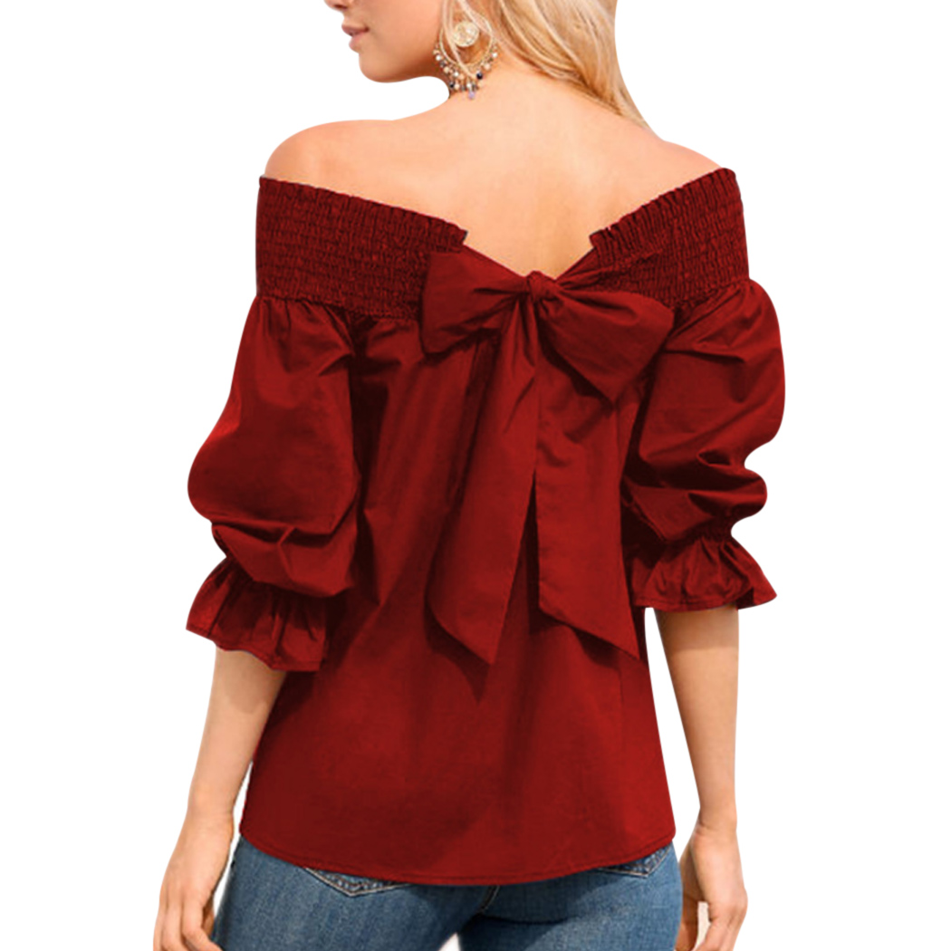 2018 Sexy Off The Shoulder Spring Summer Women   Blouse     Shirt   Bowknot Tops Slash Neck Elegant Ladies   Shirts   Casual Loose Top Blusa
