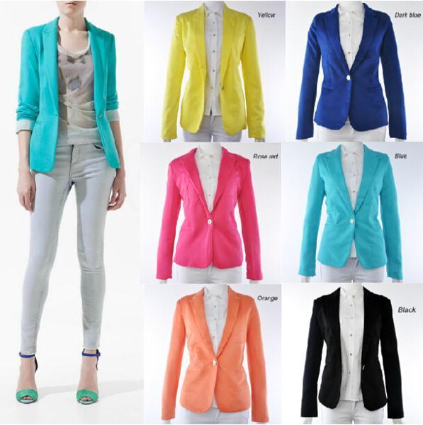 8806fe0e53 New 2015 Women s Slim Casacos Femininos Suits Blazer Feminino Single Buttom  Candy Color Suits Women Plus