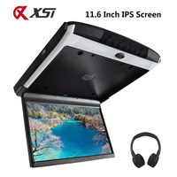 XST 11.6 Inch IPS Screen HD 1080P Video Car Monitor Roof Flip Down Mount Touch Button With USB SD HDMI Sperker IR FM Transmitter