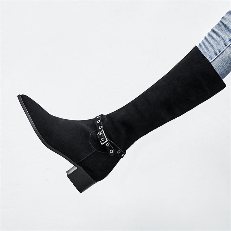 Rivets Haute Femmes Longues Automne Hiver Talons Moto Bottes Sexy Mode Hauts Hautes Chevalier Fedonas Marque Chaussures De Noir wqF6EwX