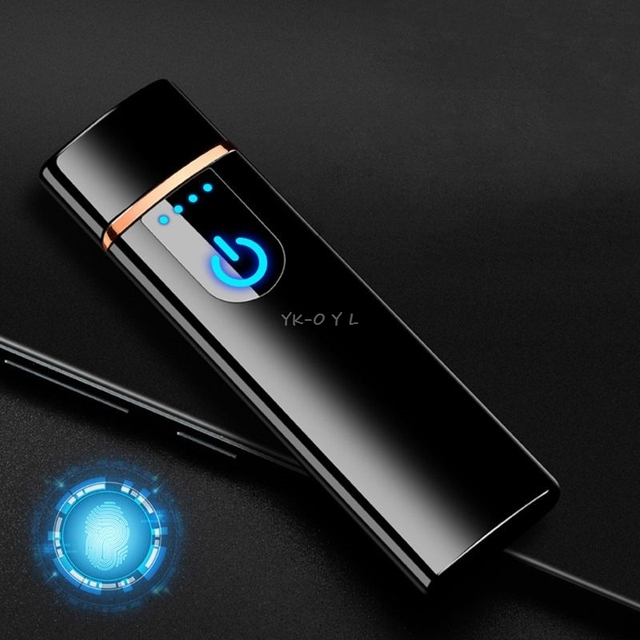 Mini USB Charging Sensor Touch Screen Electronic Tungsten Cigarette Lighter Flameless Rechargeable Windbreak