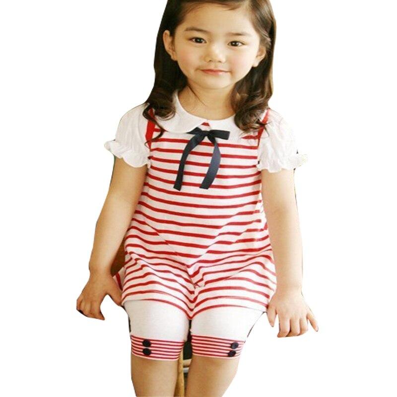 78c426feb94c0 Marque Enfants ensembles de vêtements de bébé Fille ensemble de vêtements  d été de costume de raie de court-douille t-shirts + pantalon Filles  vêtements