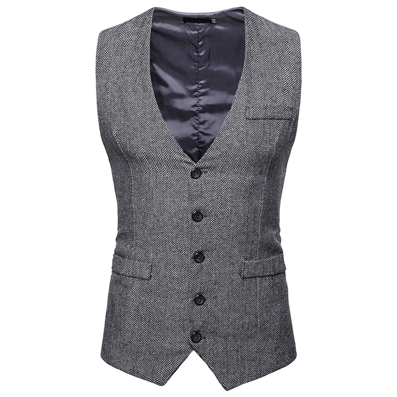 Vintage Gray Tweed Suit Vest Men 2018 Fashion Herringbone Tweed Wedding Tuxedo Vest Mens Business Sleeveless Waistcoat Gilet Men
