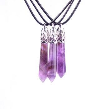 Оптовая продажа 10 комплектов женская классика розовый кварцевый кристалл камень шестиугольник маятниковые бусы кулон в форме колонны