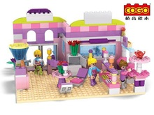 Cogo14513 Dream girl's Ice cream shop Model Building blocks Minifigures action figures baby Toys for children