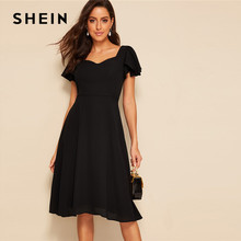 3b73a8895d SHEIN Vintage Black Flutter Sleeve Sweetheart Neck Fit And Flare Dress  Sweetheart Women High Waist Short Sleeve Dresses