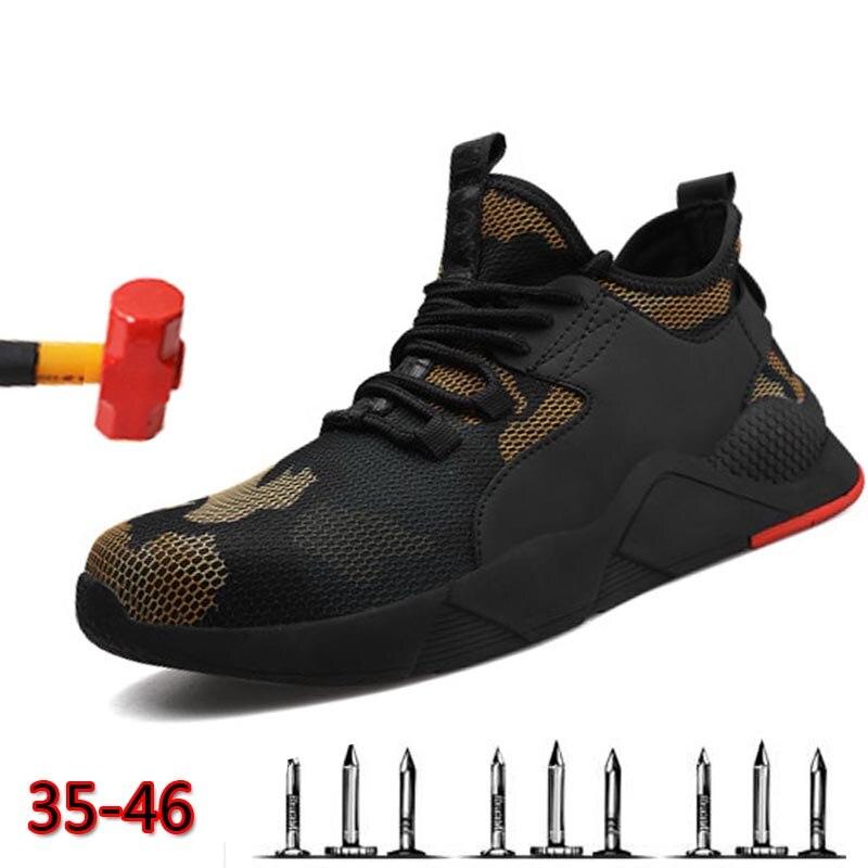 Hommes travail chaussures de sécurité en acier embout de mode respirant chaussures de sport respirant léger été hommes chaussures de sport