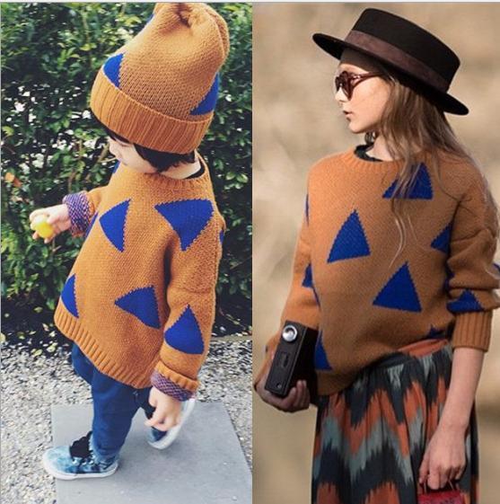 Ins * bobo choses * 2015 do bebê menina de malha de algodão blusas pai - criança outono roupas top triângulo padrão frete grátis
