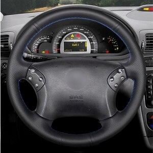 Image 2 - GKMHiR DIY siyah direksiyon kılıfı suni deri araba direksiyon kılıfı Mercedes Benz için W203 C 2001 2007