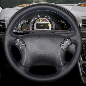 Image 2 - GKMHiR DIY שחור הגה כיסוי מלאכותי עור רכב הגה כיסוי עבור מרצדס בנץ W203 C class 2001  2007