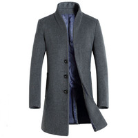 2018 Wool Jackets Spring Autumn Men Woolen Coats Middle Long Jackets And Coats Mens Warm Wool Overcoat Size 3XL