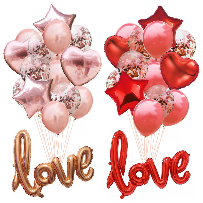 Wedding Foil Balloon Round Confetti Ballon Heart Helium Balloons Birthday Party Decorations Adult Kids Event Party Baloon Baloes