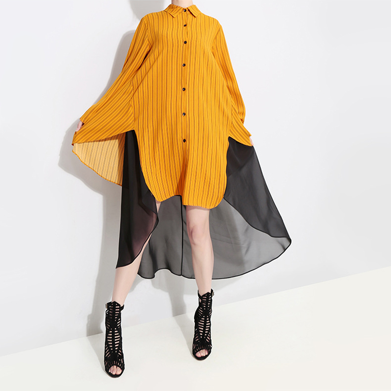 Hongsonghan Spring Womens dresses Chiffon Spliced Loose Striped Dress Ladies Casual Long Girl Tops Dress fashion big vestido in Dresses from Women 39 s Clothing