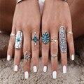 9pcs/set New Bohemian Turquoise Ring Set Turkish Retro Finger Rings Vintage Boho Ring Set For Women Flower Knuckle Midi Rings