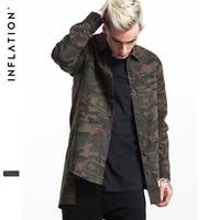 INFLATION New Man Denim Shirts Mens Hip Hop Military Style Mens Shirts Long Sleeve Hiphop Streetwear