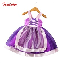 Girls Children Rapunzel Costume Shoulder strap Dress Cosplay Halloween Birthday Party Fancy Vestido