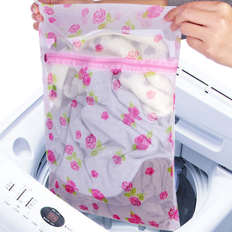 New Zippered Net Mesh Laundry Wash Bags For Delicates Lingerie Underwear Clothes(Random Color)
