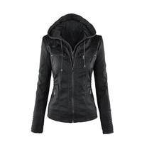 Plus code Gothic faux leather coats Women hoodies Winter Autumn Motorcycle Jacket Black Outerwear faux leather PU Jacket Coat