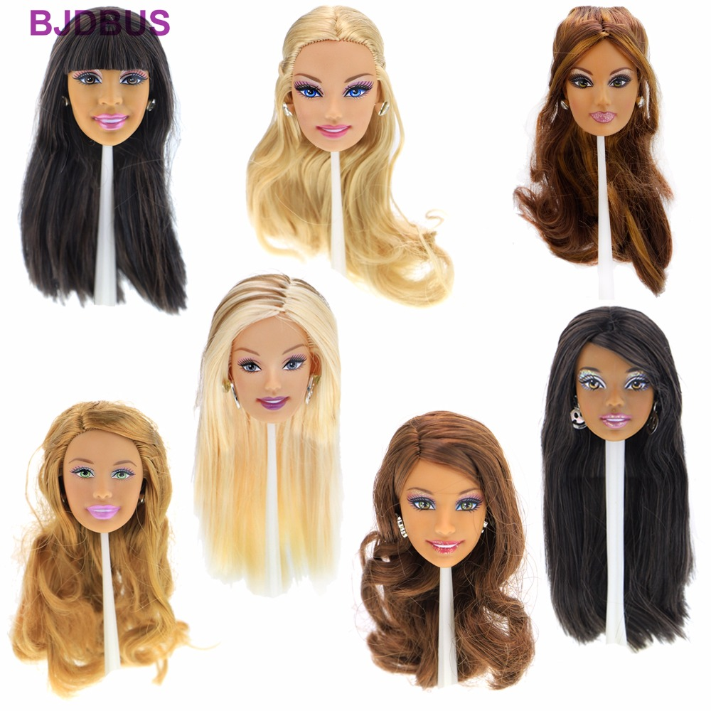 """High Quality Doll Head Mixed Style Face Different Straight Curly Hair With Fashion Earrings Flexible Accessories For 12"""" Doll"""