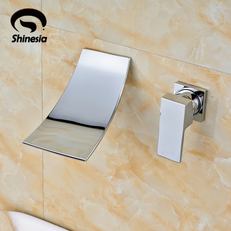Waterfall Widespread Contemporary Bathroom Sink Faucet (Chrome Finish)