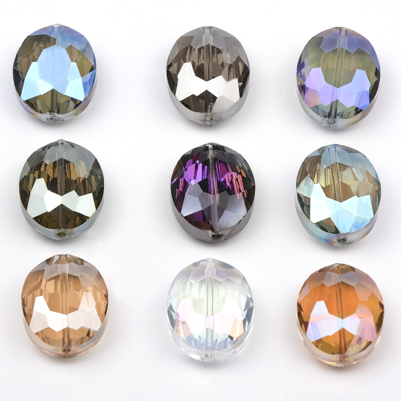 16*20mm Oval Bovine Eyes Natural Stone Beading Plated Faceted Crystal Glass Bead For Making Diy Jewelry Making 10pcs/lot