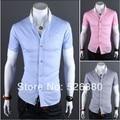 Estilo del verano resorte del verano nuevos hombres de moda casual manga corta camisa Slim Fit camisa masculina camisa