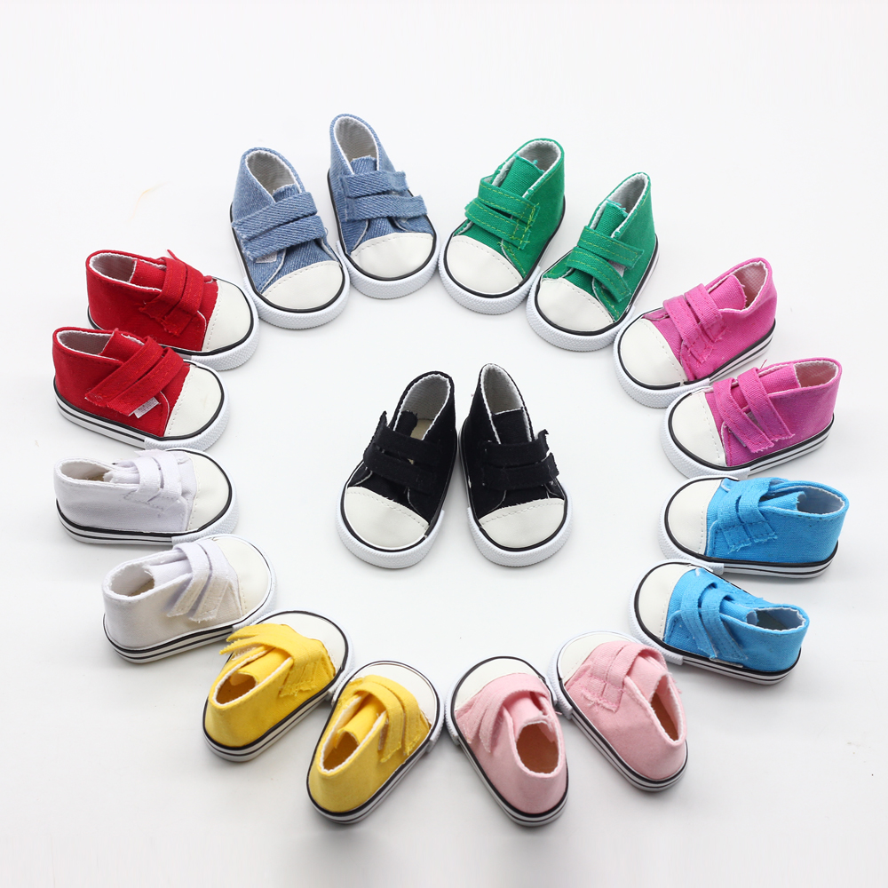 9color-Cute-Doll-Shoes-For-18-Inch-Baby-Born-Doll-Handmade-Sneakers-American-Girl-doll-Accessories-Denim-Canvas-Mini-Toy-Shoes-2