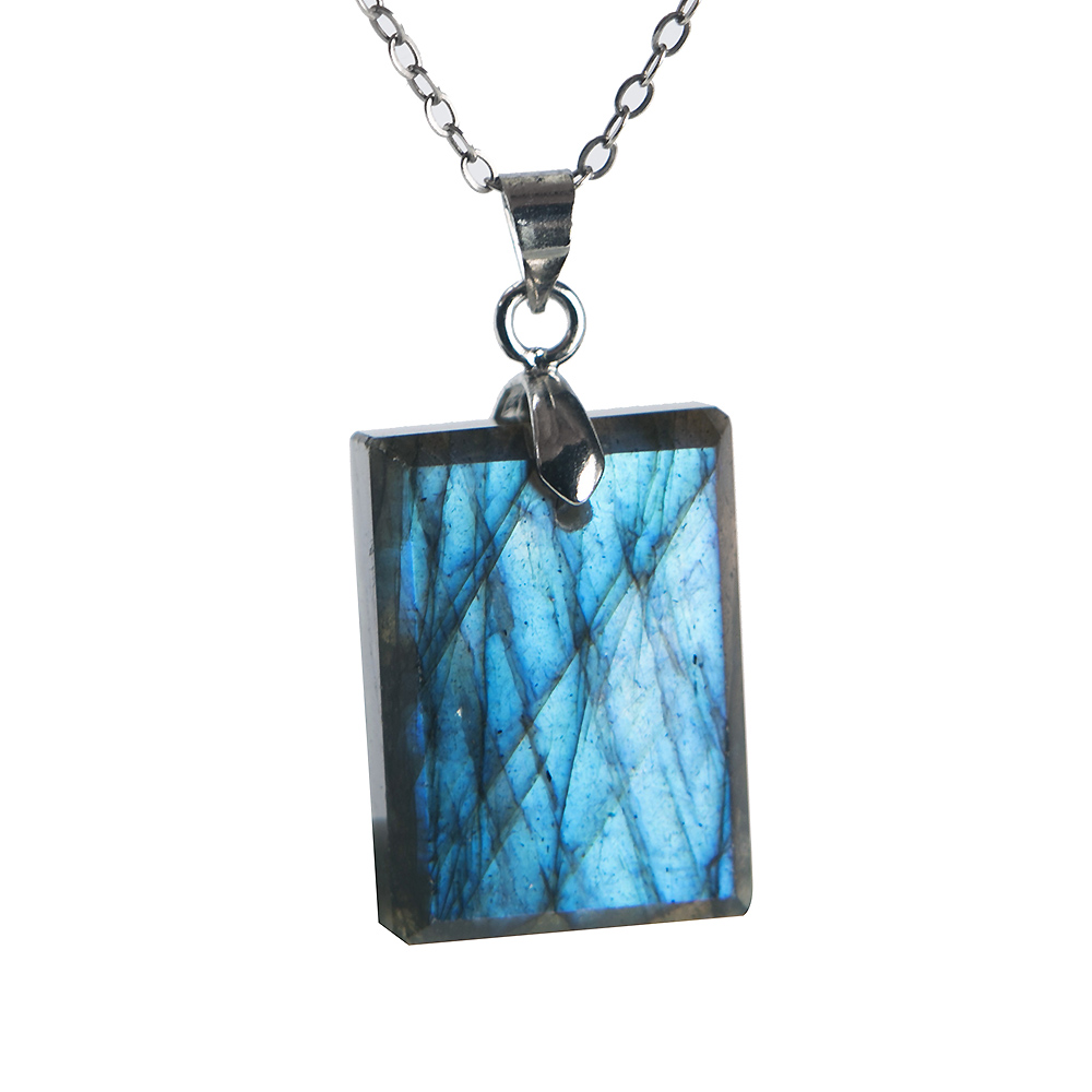 Natural Blue Light Labradorite Pendant Gemstone Women Men Fashion 21x16x6mm Rectangle Shape Crystal Moonstone Pendant AAAA in Pendants from Jewelry Accessories