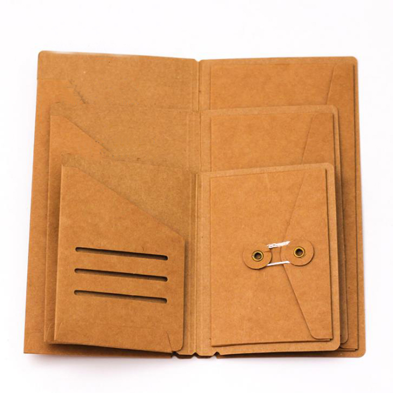 1 Pcs Kraft Paper File Holder For Travel Journal Notebook Accessory Vintage Retro Card Pocket Storage Standard Pocket Passport