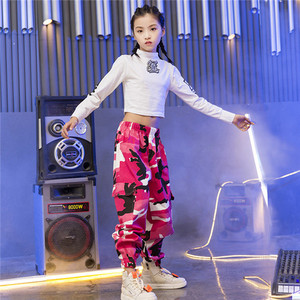 Image 2 - Girls Jazz Dance Costumes Hip Hop Suit Long Sleeve Children Kids Street Dancing Clothes Performance Show Out Clothing 120 180
