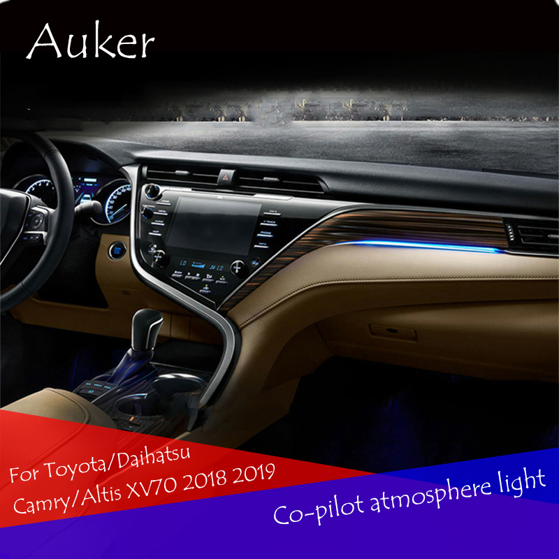 For Toyota Camry 2017 2018 XV70 Car Refit Co-pilot Atmosphere Light Lamp Interior Ambient Optical Fiber Bright Car Styling