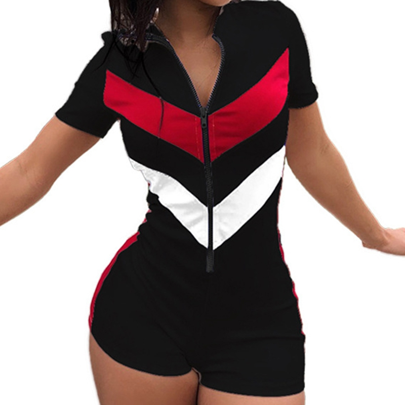 Sexy Zipper Short Sleeve Stitching Color Shorts Bodysuit Playsuit Casual Black Blue White Women Jumpsuit Sexy Shorts Rompers
