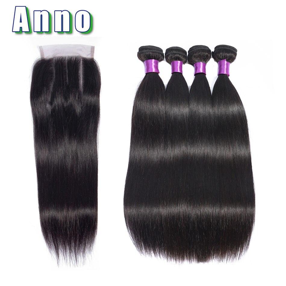 Anno Hair Peruvian Straight Hair 4 Bundles With Closure Human Hair Bundles With Closure 4x4 Natural