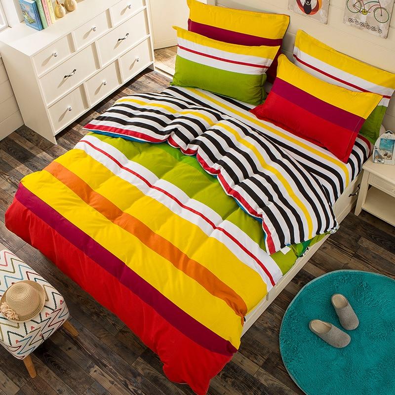 100% Cotton Rainbow Bedding Set luxury 3/4pcs Family Set Include Bed Sheet Duvet Cover Pillowcase Room Decoration