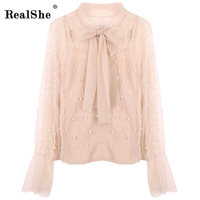 RealShe Women 2018 Spring New Elegant Mesh Tops Bow Collar Long Sleeve Pearls Chiffon Blouse Lace