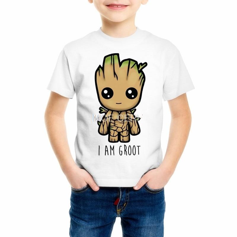 New Short sleeve Boys/Girls Groot T-shirt Kids Guardians of the Galaxy Funny Print T Shirt Children's Casual Clothing Z14-4 funny print raglan sleeves t shirt
