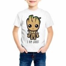 ФОТО new short sleeve boys/girls groot t-shirt kids guardians of the galaxy funny print t shirt children's casual clothing z14-4