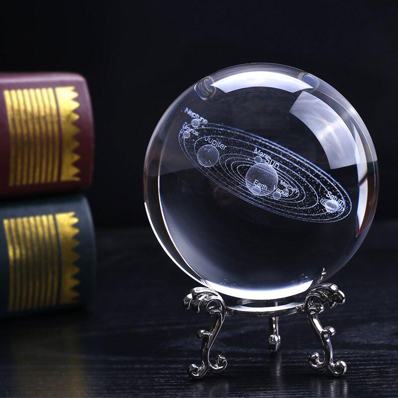 100 mm 3D Solar System Crystal Ball Miniature Laser Engraved Planet Model Sphere Gift for Astrophile