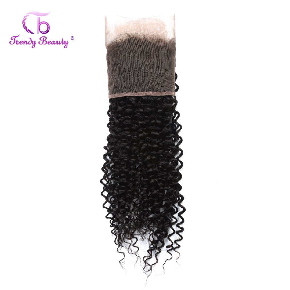 Trendy Beauty Peruvian Kinky Curly 13*4 Swiss Lace Frontal Closure Hair Extension Non-Remy Human Hair Nature Black Can Be Dyed