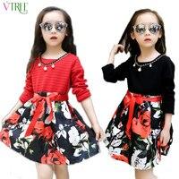 Fashion Girls Dress Long Sleeve Dress Girl Cotton Kids Dresses For Girls 10 12 Years For