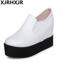 Spring And Autumn Single Shoes Women S PU Leather Platform Shoes Increased High Heeled Large Size