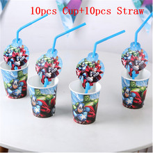 20pcs Avengers Party Supplies Decoration Disposable Straws Cups Super Hero Birthday Avenger Favors
