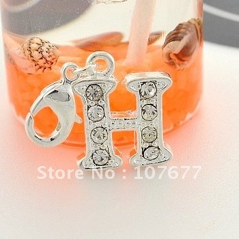 3d silver plated zinc alloy environment friendly h letter word charms pendant 1100 styles 100