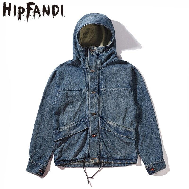 HIPFANDI haute qualité mode décontracté veste hommes Street Blue veste Hip Hop High Street costume Denim veste avec capuche hommes M XL