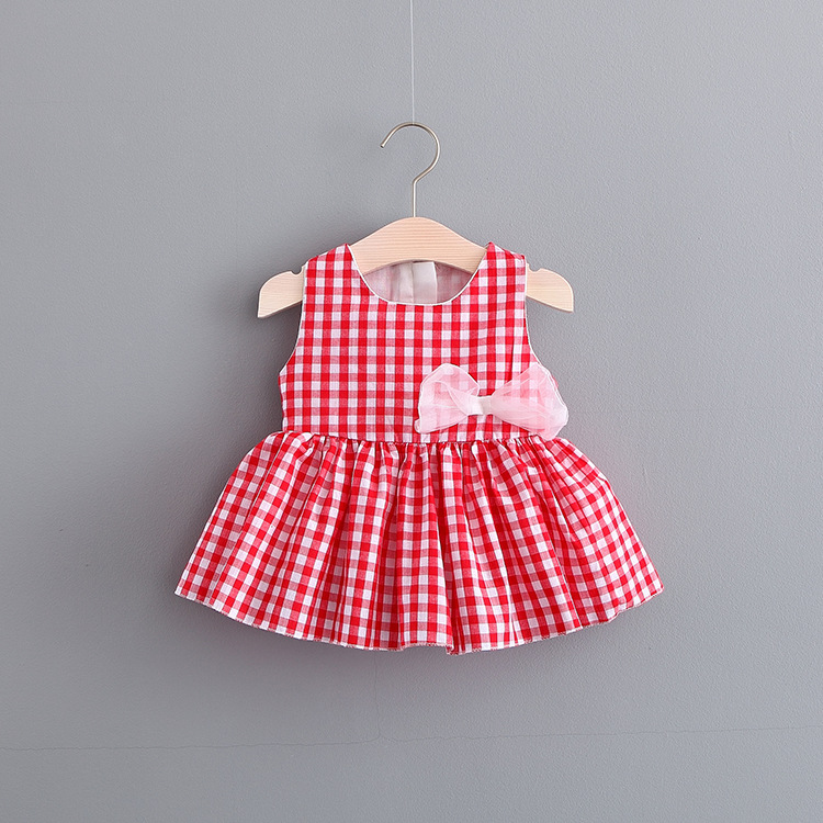 2018 Summer Toddler Baby Dress Dress Princess Dress Child Plaid Bow Tutu 0-2 Sleeveless  ...