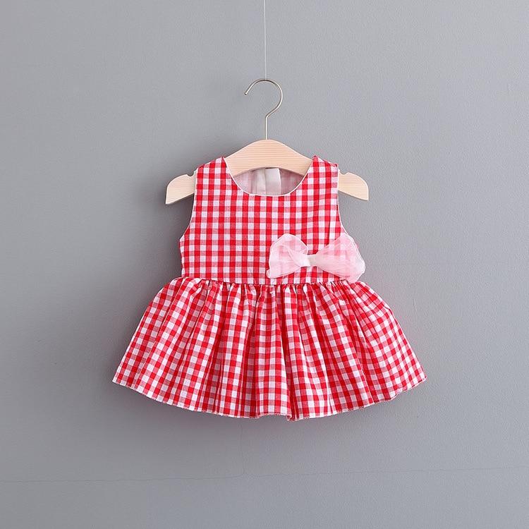 2018 Summer Toddler Baby Dress Dress Princess Dress Child Plaid Bow Tutu 0-2 Sleeveless  ...